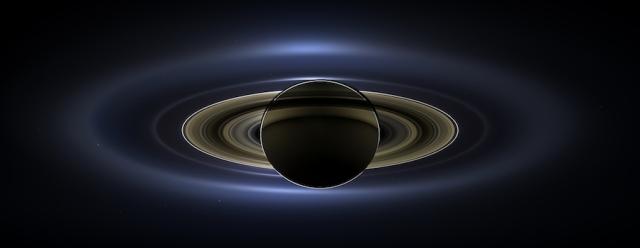 Backlit rings of Saturn