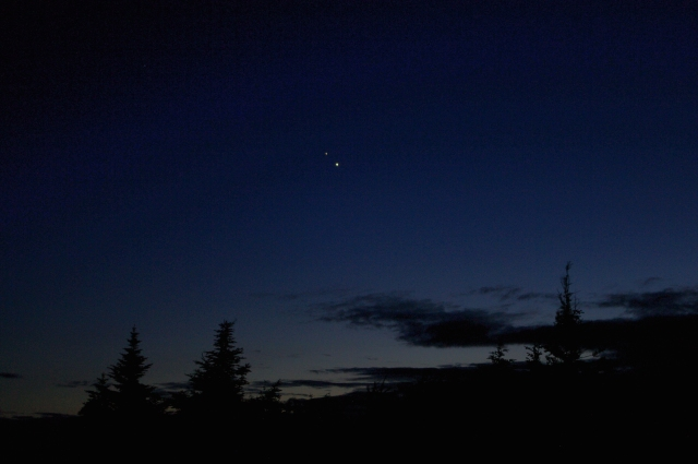 Venus and Jupiter as seen from the summit of Cadillac Mountain, Bar Harbor ME.  June 29, 2015.